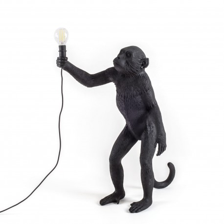SELETTI Monkey Standing Lamp Black Indoor/Outdoor
