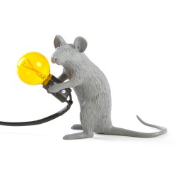 SELETTI Mouse Sitting Lamp Gray