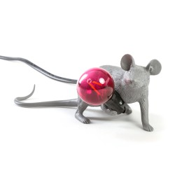 SELETTI Mouse Lying Down Lamp Gray